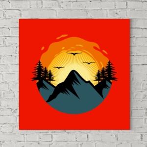 تابلو بوم طرح طلوع خورشید در کوه