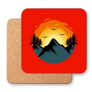 زیر لیوانی طرح طلوع خورشید در کوه