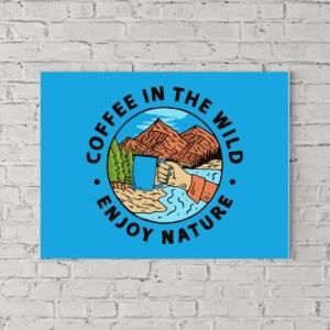 تابلو بوم طرح لذت نوشیدن قهوه در طبیعت بکر
