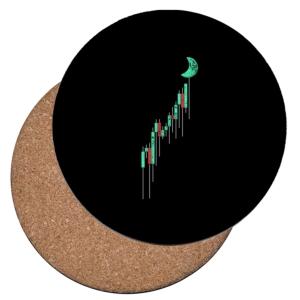 زیر لیوانی طرح نمودار ارزش کریپتو صعودی به سمت ماه