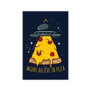 پوستر طرح فضاییها هم عشق پیتزا هستند