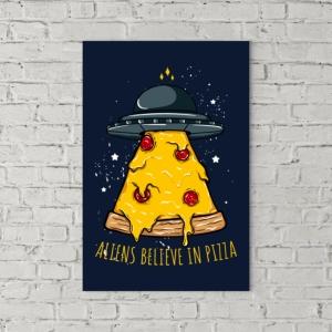 تابلو بوم طرح فضاییها هم عشق پیتزا هستند