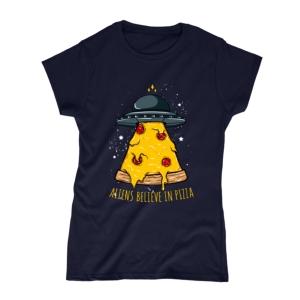 تیشرت طرح فضاییها هم عشق پیتزا هستند