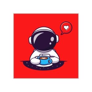 پوستر طرح فضانورد فانتزی عشق قهوه