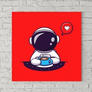 تابلو بوم طرح فضانورد فانتزی عشق قهوه